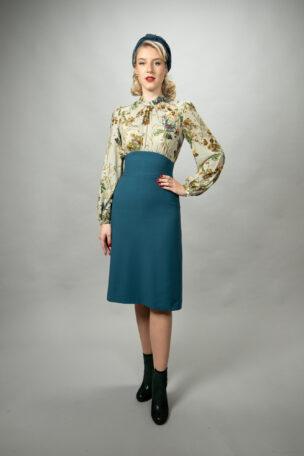 Eleanor elegantes Kleid, zweifarbig mit Stehkragen